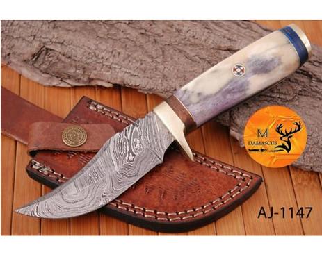 DAMASCUS STEEL SKINNER HUNTING KNIFE - AJ 1147