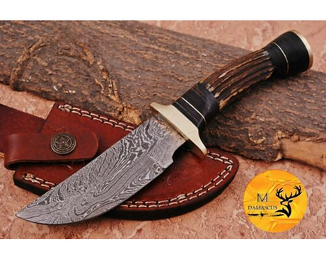 DAMASCUS STEEL SKINNER HUNTING KNIFE - AJ 1119