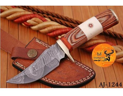 DAMASCUS STEEL SKINNER HUNTING KNIFE - AJ 1244