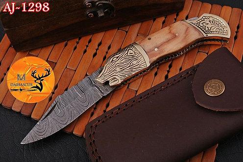 DAMASCUS STEEL FOLDING POCKET KNIFE- AJ 1298