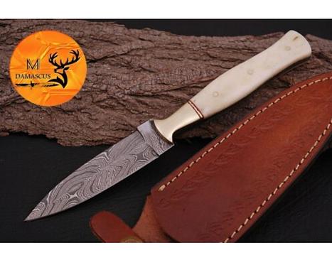 DAMASCUS STEEL THROWING BOOT DAGGER KNIFE - AJ 864