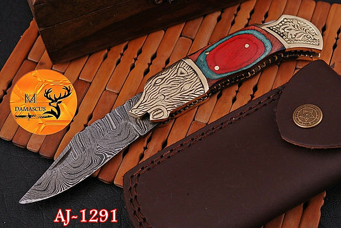 DAMASCUS STEEL FOLDING POCKET KNIFE- AJ 1291