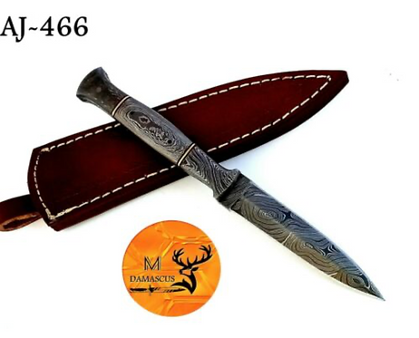 HAND FORGED FULL TANG DAMASCUS STEEL THROWING BOOT DAGGER KNIFE - AJ 466