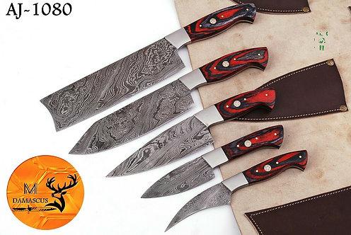 DAMASCUS STEEL CHEF KITCHEN KNIFE SET- AJ 1080
