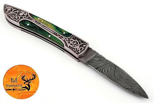 DAMASCUS STEEL FOLDING POCKET KNIFE- AJ 880