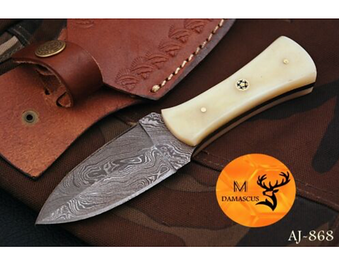 DAMASCUS STEEL THROWING BOOT DAGGER KNIFE - AJ 868
