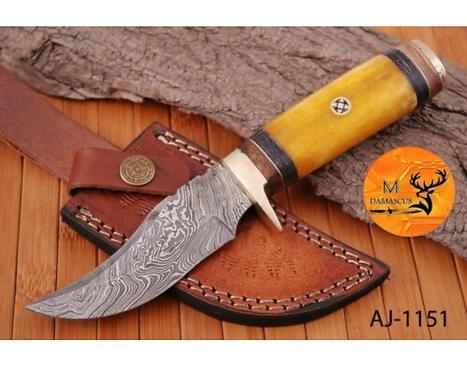 DAMASCUS STEEL SKINNER HUNTING KNIFE - AJ 1151