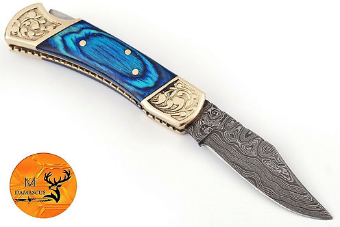 DAMASCUS STEEL FOLDING POCKET KNIFE- AJ 1250