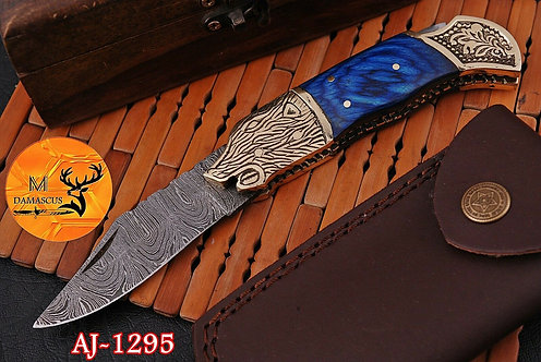 DAMASCUS STEEL FOLDING POCKET KNIFE- AJ 1295