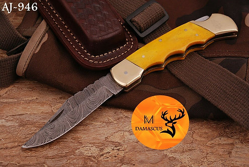 DAMASCUS STEEL FOLDING POCKET KNIFE- AJ 946