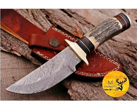 DAMASCUS STEEL SKINNER HUNTING KNIFE - AJ 1112