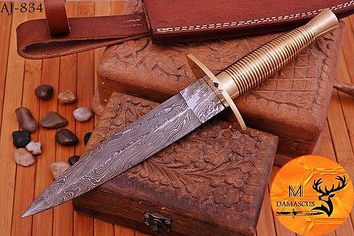 DAMASCUS STEEL BOOT DAGGER KNIFE  - AJ 834
