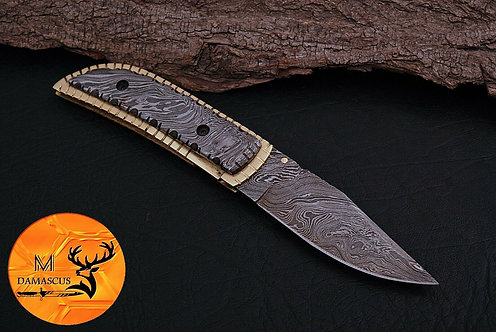 DAMASCUS STEEL FOLDING POCKET KNIFE- AJ 889