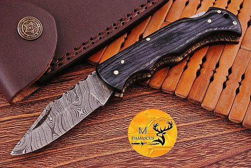 DAMASCUS STEEL FOLDING POCKET KNIFE- AJ 1106