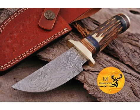 DAMASCUS STEEL SKINNER HUNTING KNIFE - AJ 1107