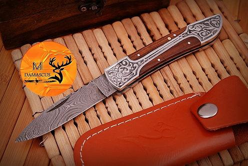 DAMASCUS STEEL FOLDING POCKET KNIFE- AJ 499