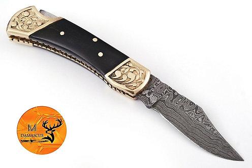 DAMASCUS STEEL FOLDING POCKET KNIFE- AJ 1253