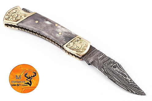 DAMASCUS STEEL FOLDING POCKET KNIFE- AJ 1251