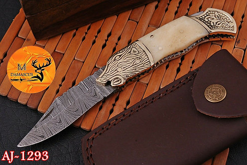 DAMASCUS STEEL FOLDING POCKET KNIFE- AJ 1293