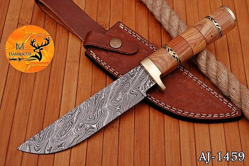 DAMASCUS STEEL HUNTING SKINNER KNIFE - AJ 1459