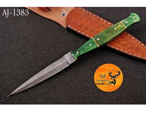 DAMASCUS STEEL THROWING BOOT DAGGER KNIFE - AJ 1383