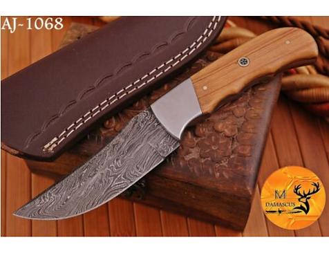 DAMASCUS STEEL SKINNER HUNTING KNIFE - AJ 1068