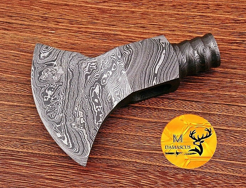 DAMASCUS STEEL SMOKE AXE HEAD - AJ 1091