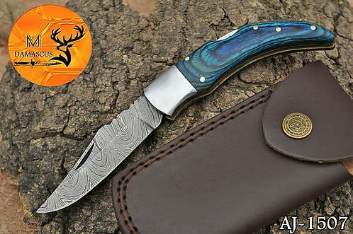 DAMASCUS STEEL FOLDING POCKET KNIFE- AJ 1507