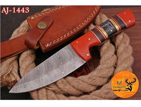 DAMASCUS STEEL HUNTING SKINNER KNIFE - AJ 1443