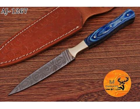 DAMASCUS STEEL THROWING BOOT DAGGER KNIFE - AJ 1267