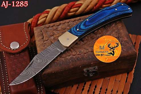 DAMASCUS STEEL FOLDING POCKET KNIFE- AJ 1285