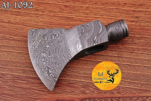DAMASCUS STEEL PIPE TOMAHAWK AXE HEAD - AJ 1092