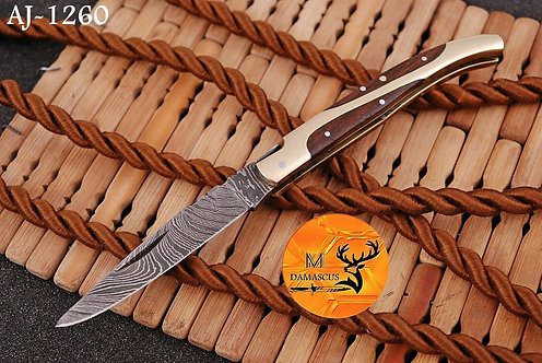 DAMASCUS STEEL FOLDING POCKET KNIFE- AJ 1260