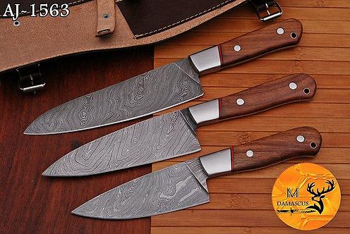 DAMASCUS STEEL CHEF KITCHEN KNIFE SET- AJ 1563