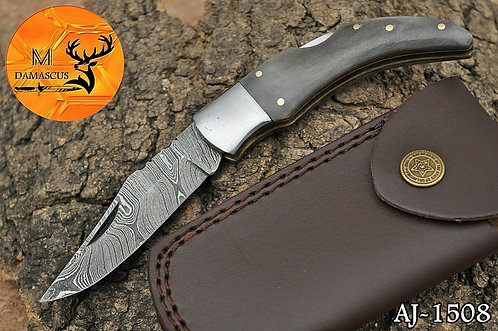 DAMASCUS STEEL FOLDING POCKET KNIFE- AJ 1508