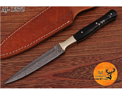 DAMASCUS STEEL THROWING BOOT DAGGER KNIFE - AJ 1270