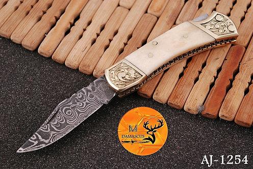 DAMASCUS STEEL FOLDING POCKET KNIFE- AJ 1254