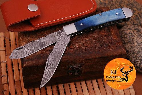 DAMASCUS STEEL FOLDING POCKET TRAPPER KNIFE- AJ 692
