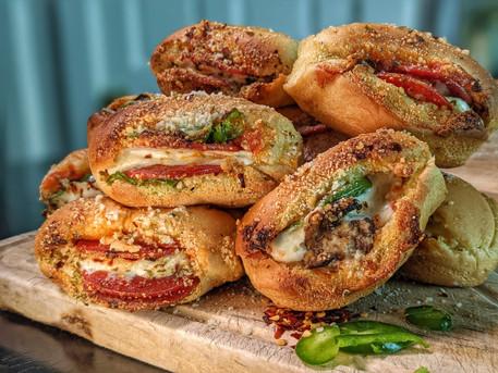 Ooey-Gooey Pizza Stuffed Garlic Rolls
