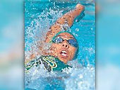 woman swimming backstroke