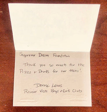 The Supreme Dream Foundation Partners With The Boys and Girls Club of King County in Seattle, Washington To Host Pizza Party For Local Teens