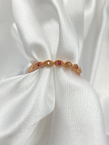 10K Rose Gold Ruby and Diamond Stackable