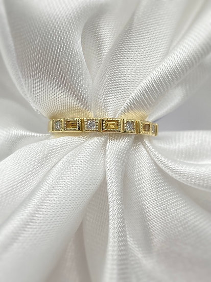 10K Yellow Gold Citrine and Diamond Stackable