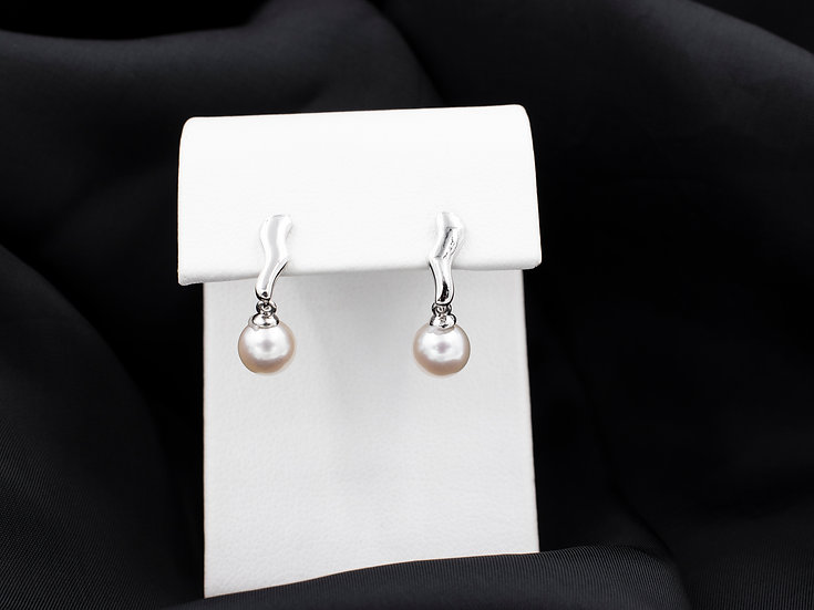 14K White Gold 6.5mm Cultured Pearl Dangle Earrings