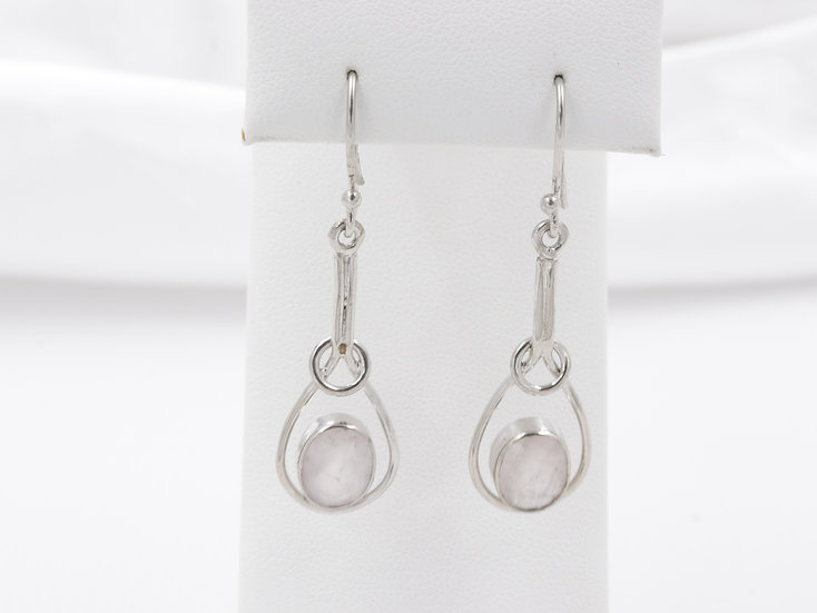 Sterling Silver Rose Quartz Dangle Earrings
