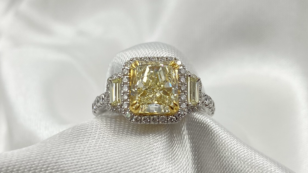 18K White Gold 3 Yellow Diamond Engagement Ring