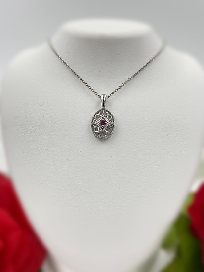 "Sterling Silver Ruby Oval Vintage Pendant 18"" Necklace"