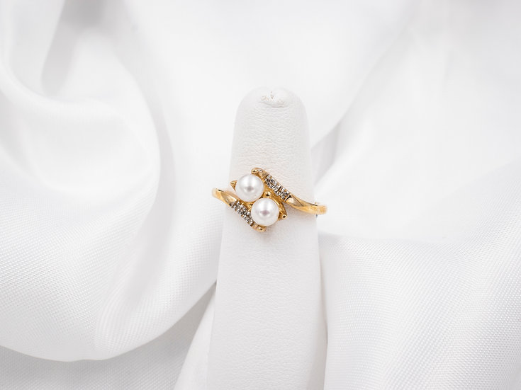 10K Yellow Gold 5mm Pearl Ring with .03cttw Diamonds