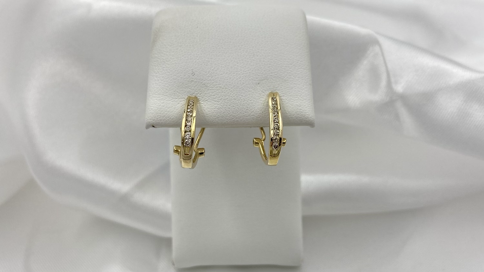 10K Yellow Gold .25cttw Round Diamond Channel Omega Back Earrings