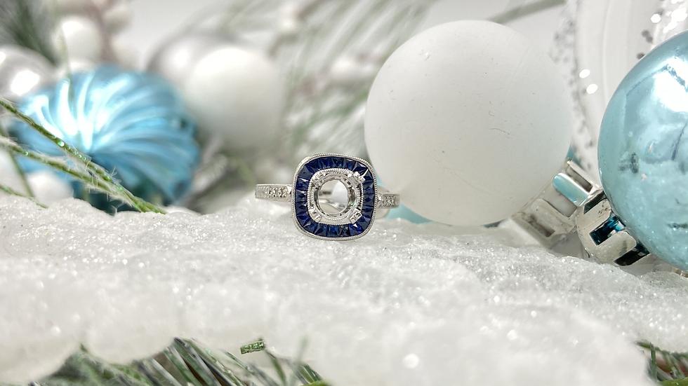 18K White Gold Round Diamond Sapphire Semi Mount